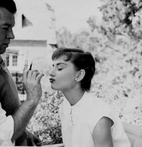 "Audrey Hepburn on the set of ""Sabrina""  1954 © 2000 Mark Shaw"